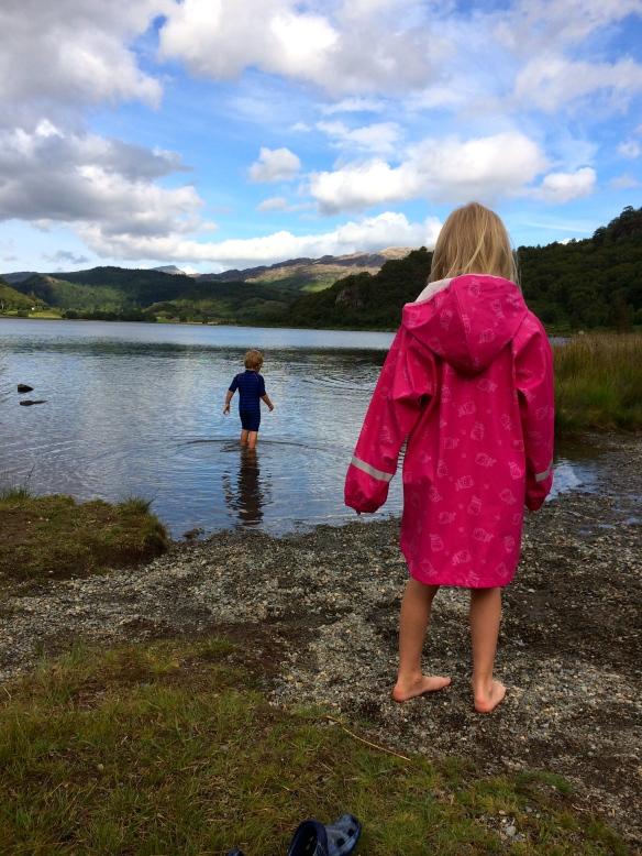 Paddling in lake near Beddgellert