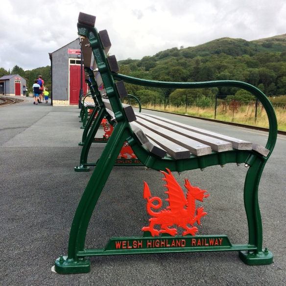 Dragon bench on Welsh Highland Railway