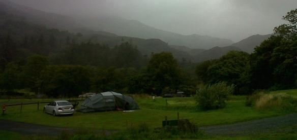 Wet Wales hillsides